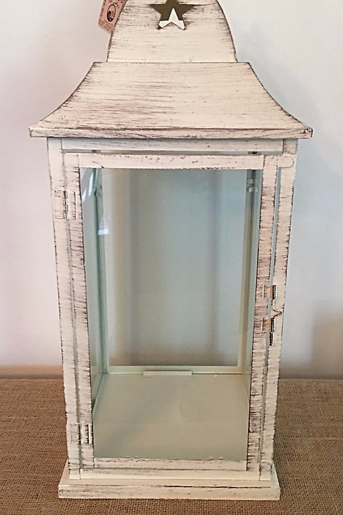 Country Primitive Summer Small Lantern White Washed