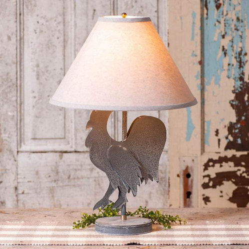 Irvin's Tinware Rooster Lamp with Ivory Linen Shade