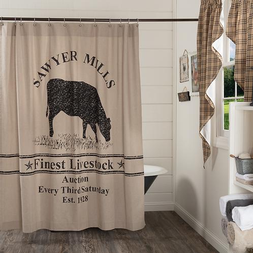 VHC Sawyer Mill Cow Shower Curtain