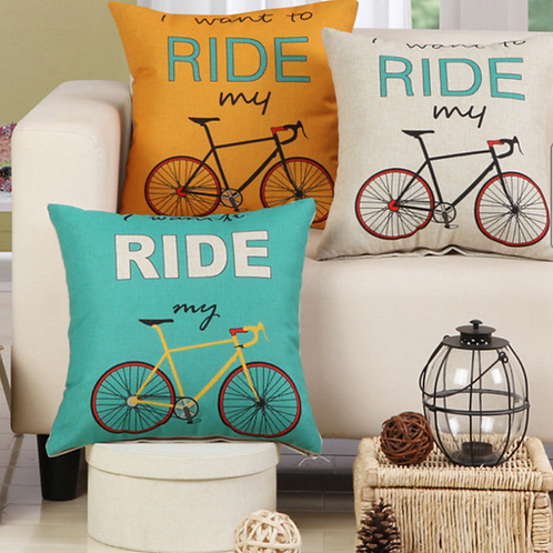 """I Want To Ride My Bike Pillow 18"""" Square"""