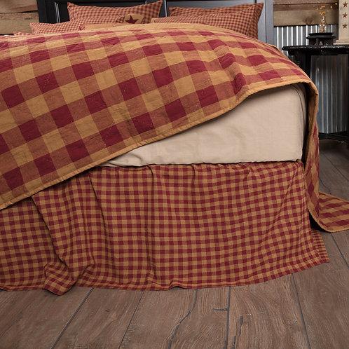 BURGUNDY CHECK BED SKIRT