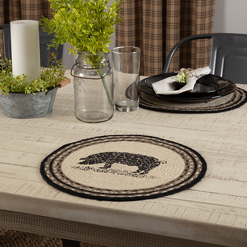 """Farmhouse VHC Sawyer Mill Pig 13"""" Round Table Placemat"""