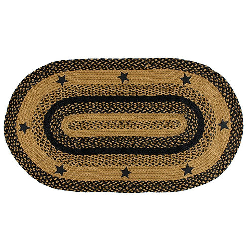 IHF Star Black Traditional Braided Oval Jute Country Primitive