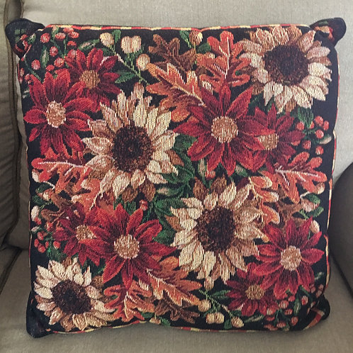 """Tapestry Pillow Fall Leaves 18""""Square"""