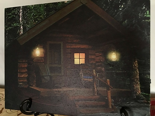 Lighted Cabin in the Woods Canvas Picture w/ Timer