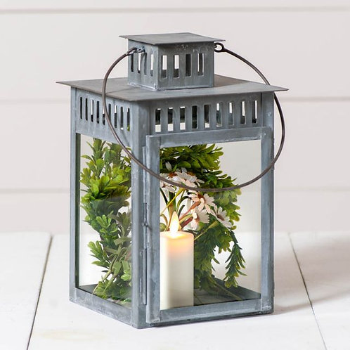 Irvin's Tinware Rustic Mission Lantern in Weathered Zinc
