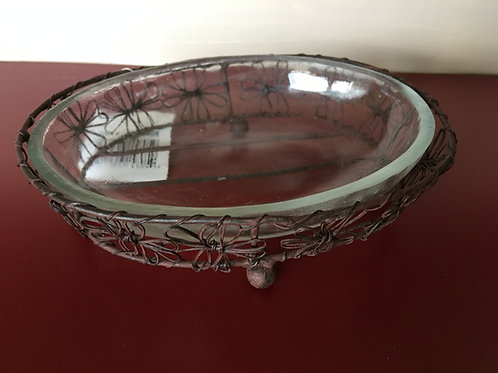 Farmhouse Rustic Brown Oval Soap Dish w/ Glass Liner