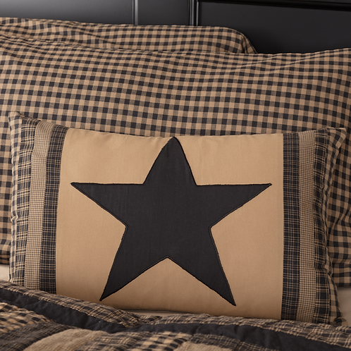 COUNTRY PRIMITIVE BLACK CHECK STAR PATCH PILLOW 14X22