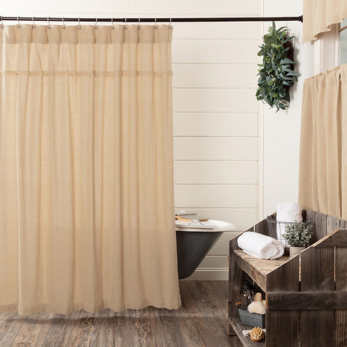 VHC BURLAP SHOWER CURTAIN 72X72 (choice of 3 colors)
