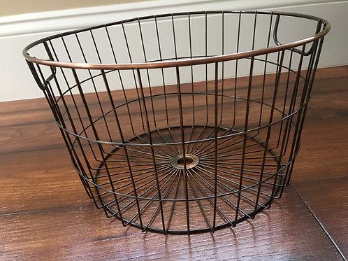 "Country Primitive Copper Metal Tub Bucket w/ Handles 12"" x 7"""