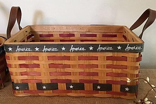Country Primitive Patriotic Basket