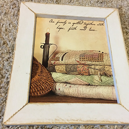 Small Rustic Framed Picture Family Quilted Together 10 x 12