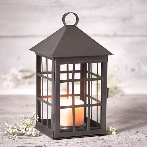 Irvin's Tineware Square Mission Candle Lantern with Bars in Black Tin $15.50