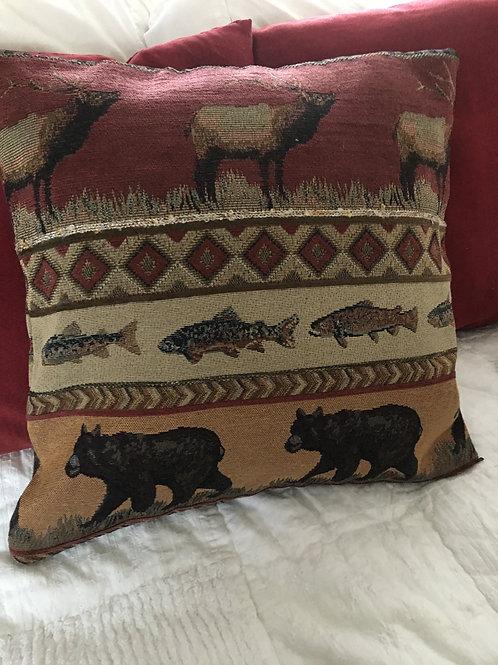"17"" Bear Elk Fish Pillow Cabin Decor Double sided"