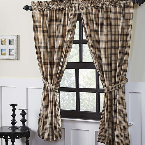 VHC SAWYER MILL PLAID SHORT PANEL CURTAIN SET OF 2 63 X 36  (3 colors to choose)