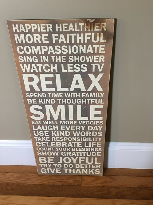 """Large Wooden words Sign Relax Smile 13"""" x 30"""""""