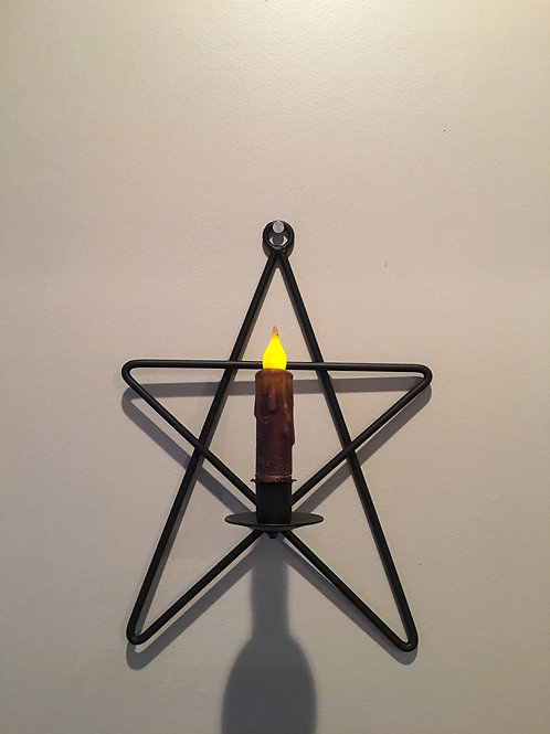 Amish Made Wrought Iron Star Sconce Candle Holder