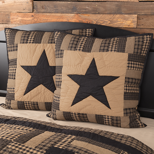 COUNTRY PRIMITIVE BLACK CHECK STAR QUILTED EURO SHAM 26X26