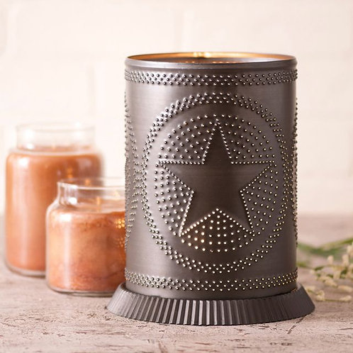 Irvin's Tinware Candle Warmer with Regular Star in Kettle Black Punched Tin