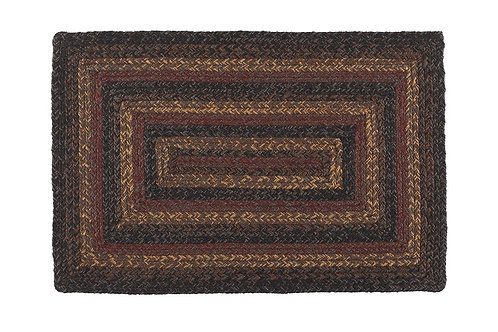 Country Primitive Rectangle Braided Jute Rug Slate