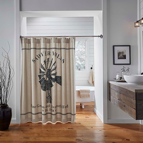 Country Primitive VHC Sawyer Mill Windmill Shower Curtain