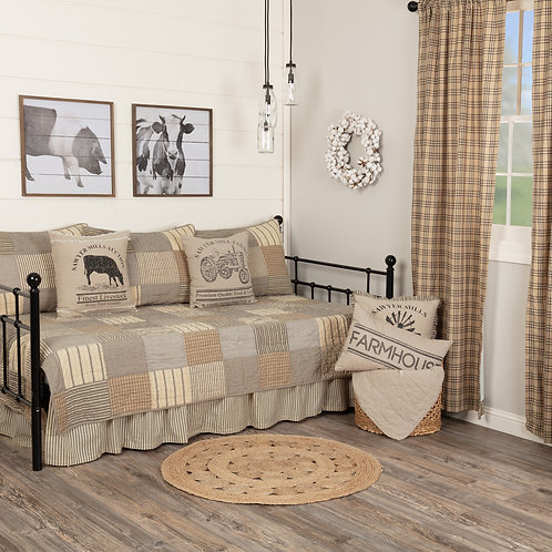 SAWYER MILL CHARCOAL 5PC DAYBED QUILT SET (1 QUILT, 1 BED SKIRT, 3 STANDARD SHAM