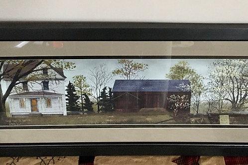 Large Springtime on the Farm Lighted Timer Black Framed Glass Picture