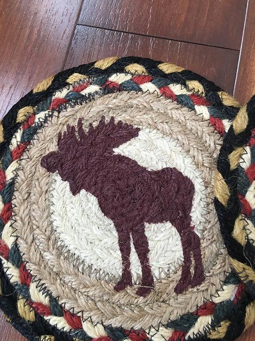 "Rustic Country Primitive 7"" Round Braided Jute Trivet Moose"
