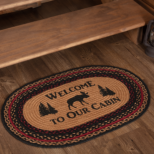 CUMBERLAND STENCILED MOOSE JUTE RUG WELCOME TO THE CABIN