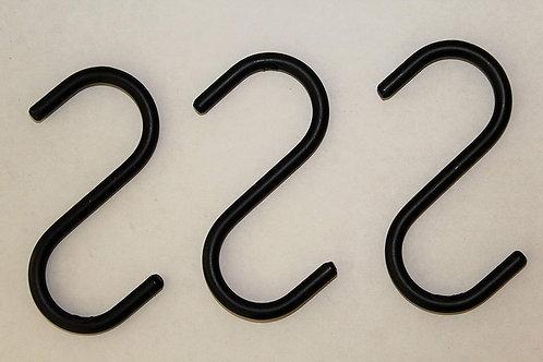 """3- 4"""" Wrought Iron """"S"""" Hooks- Amish Made"""