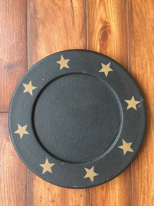 "9 1/2"" Wooden Plate Black w/ Gold Stars"