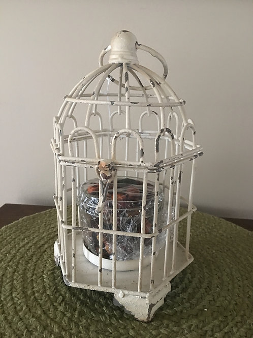White washed Antique Look Bird Cage with Glass Jar w/ Potpourri