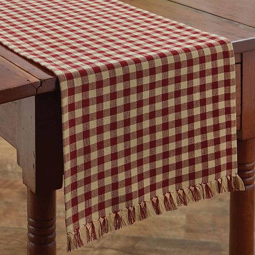 """Park Designs GINGHAM TABLE RUNNER - 36""""L - WINE"""
