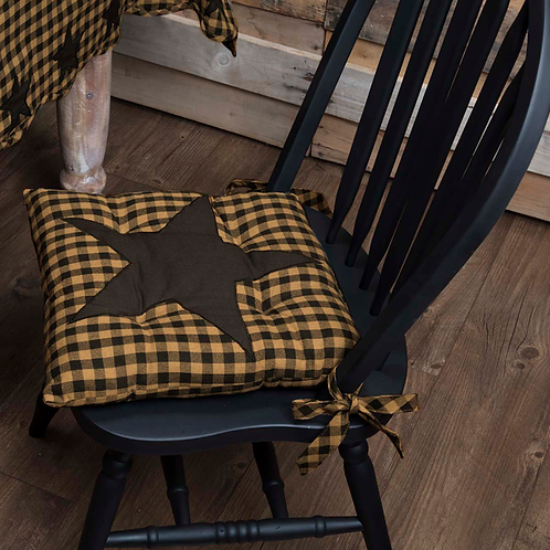 VHC COUNTRY PRIMTIVE FARMHOUSE STAR CHAIR PAD BLACK OR RED