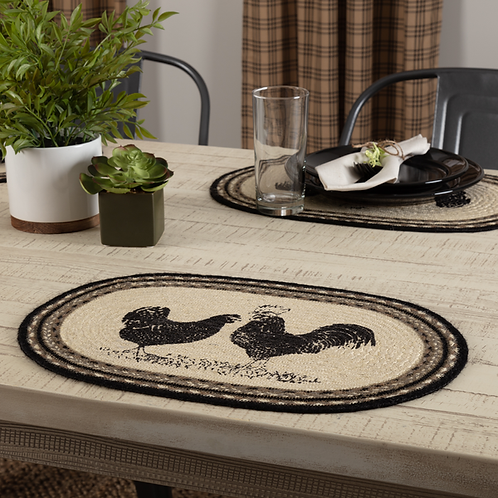 SAWYER MILL CHARCOAL CHICKEN POULTRY JUTE PLACEMAT  12X18