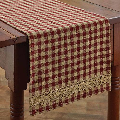 """Park Designs CROCHET GINGHAM TABLE RUNNER - 54""""L"""