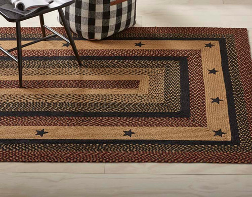Country primitive braided jute rug made in india 3 x 5 rect blackberry star