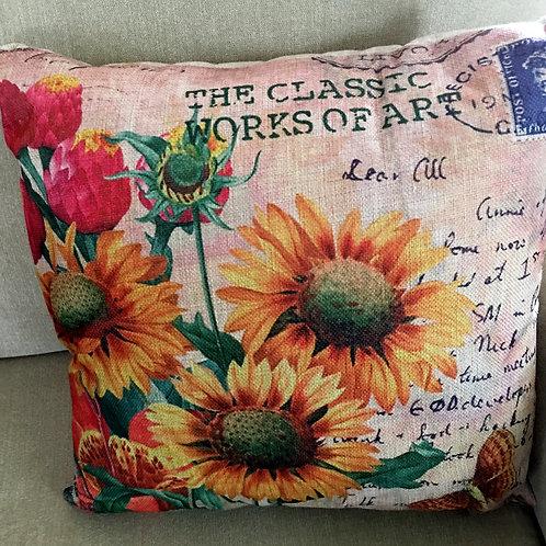 """Sunflower Stamp Pillow 17"""" x 17"""""""