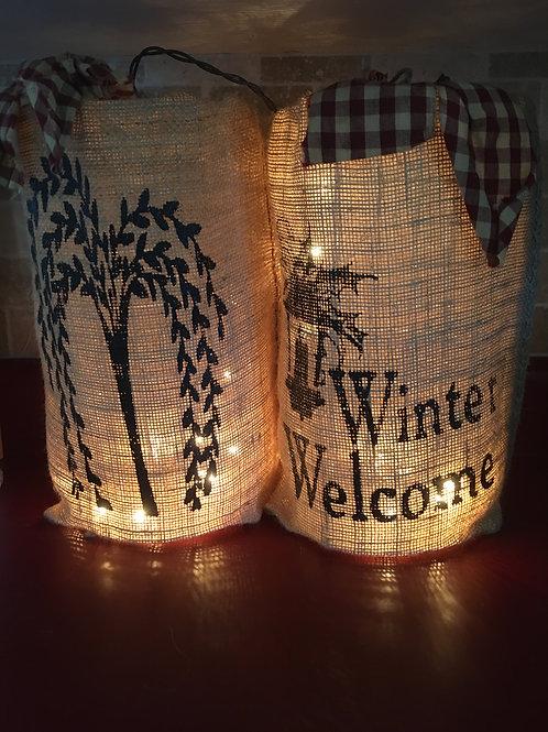 """12"""" Burlap Light Winter Welcome"""