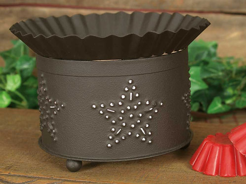 Primitive Farmhouse Punched Star Short Round Wax Warmer - Rustic Brown