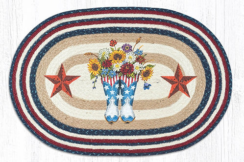 Earth Rug Jute Hand Stenciled with Patriotic Cowboy Boots and Stars