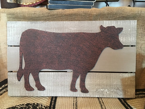 Cow Silhouette Rustic Wood Wall Decor