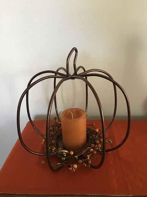 """Amish Made Wrought Iron/Metal 12"""" Pumpkin Copper"""