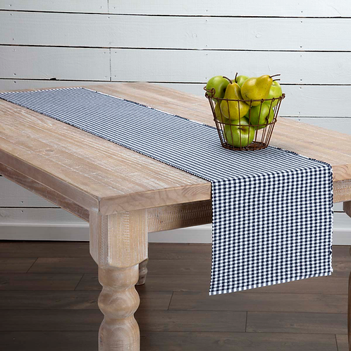 Country Navy Blue Ribbed Runner 13 x 64