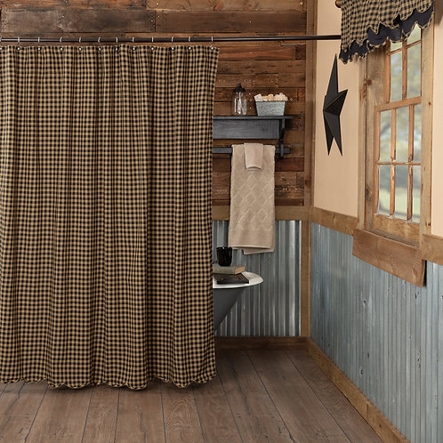 VHC BLACK CHECK SCALLOPED SHOWER CURTAIN 72 X 72