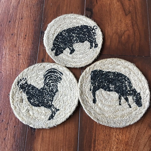 VHC SAWYER MILL CHARCOAL JUTE COASTERS PIG COW CHICKEN