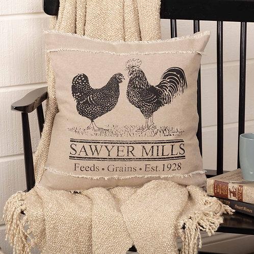 Farmhouse Primitive VHC Sawyer Mills Chicken Rooster Pillow