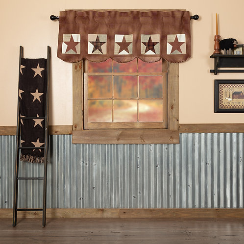 VHC ABILENE PATCH BLOCK AND STAR VALANCE CURTAIN