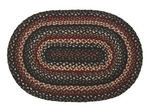 IHF Tartan Traditional 20 x 30 Oval Braided Jute Black Country Primitive