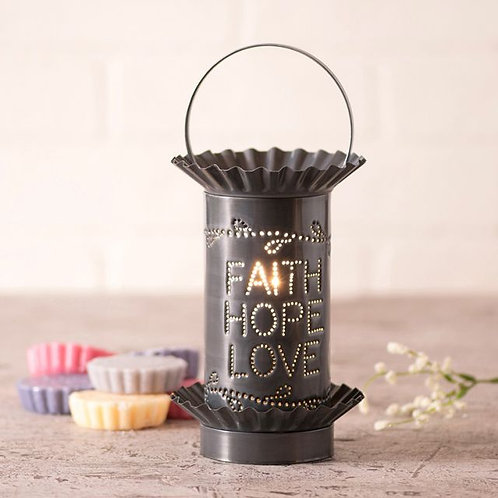 Irvin's Tinware Mini Wax Warmer Faith Hope Love in Country Punched